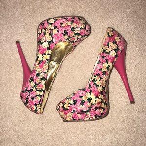 Shoes - Pink Floral Platform Heels